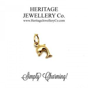 Beautiful Vintage Gold Charm – Dolphin bracelet Antique Jewellery