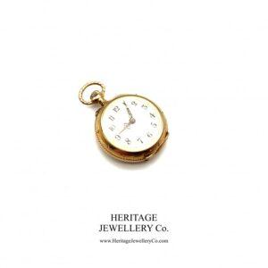 Jaeger LeCoultre Gold Pocket Watch with Diamond-Set Case Diamond Antique Jewellery
