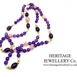 Amethyst, Pearl, Rose Quartz and Gold Necklace Amethyst Antique Jewellery