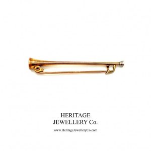 Victorian Rolled Gold Equestrian Riding Horn Pin Antique Antique Jewellery