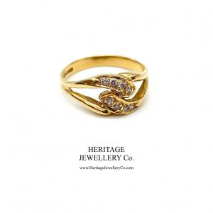 Vintage Diamond Cross-Over Ring Antique Jewellery