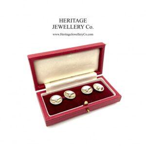 Diamond-set Cufflinks with Antique Box cufflinks Antique Jewellery