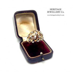 Gold & French Diamond Bombe Ring Diamond Antique Jewellery