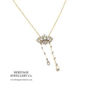 Antique Diamond & Pearl Lavalier Necklace Antique Antique Jewellery