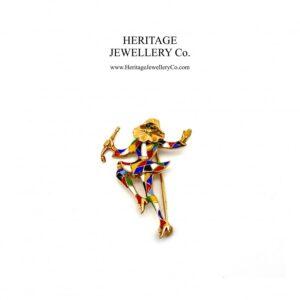 Antique Harlequin Jester Brooch Antique Antique Jewellery