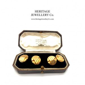 Antique Art Deco Gold Cufflinks with Antique Box Antique Antique Jewellery