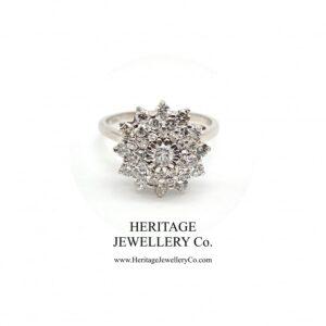 White Gold & Diamond Cluster Ring Diamond Antique Jewellery