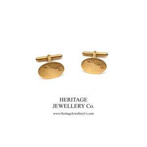 Vintage Gold Cufflinks with Vintage Box Antique Antique Jewellery