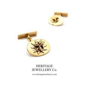 Antique Gold Cufflinks with Antique Box Antique Antique Jewellery