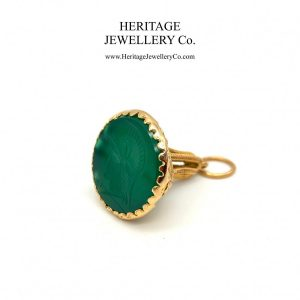 Green Agate and Gold Fob Seal agate Antique Jewellery