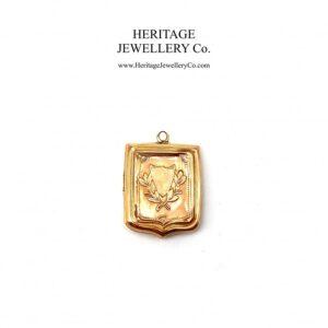 Antique Victorian Rose Gold Shield Locket gold Antique Jewellery