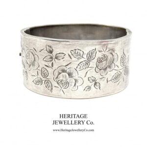 Antique Victorian Silver Bangle Bracelet with English Rose Motif (c. 1884) Bangle Antique Jewellery