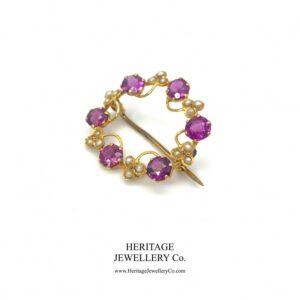 Antique Almandine Garnet, Pearl and Gold Brooch Antique Antique Jewellery