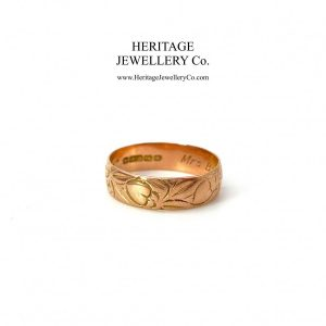 Antique Rose Gold Engraved Wide Band (c. 1917) Antique Antique Jewellery