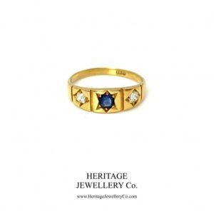 Antique Sapphire and Diamond Gypsy Ring Diamond Antique Jewellery
