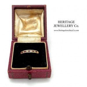 Ruby and Diamond Half Eternity Band Ring Diamond Antique Jewellery