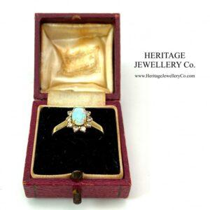 Vintage Fiery Opal and Diamond Ring Diamond Antique Jewellery