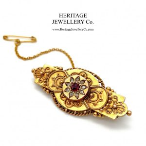 Victorian Ruby & Diamond Brooch (c. 1899) brooch Antique Jewellery