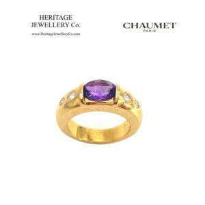 Amethyst & Diamond Gypsy Ring by Chaumet Amethyst Antique Jewellery