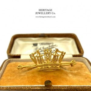 Antique Victorian Gold Naval Crown Brooch brooch Antique Jewellery