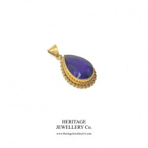 Amethyst Pear Drop Pendant Necklace Amethyst Antique Jewellery