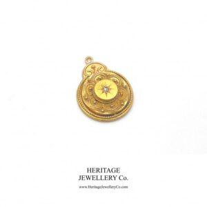 Victorian Gold & Diamond Drop Pendant (9ct) Diamond Antique Jewellery