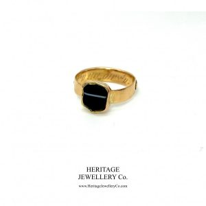 Rare Mourning Mizpah Ring with Banded Agate Shield (c. 1878) agate Antique Jewellery