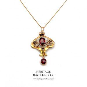 Art Nouveau Pearl and Garnet Pendant Garnet Antique Jewellery