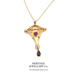 Art Nouveau Gold & Amethyst Pendant Amethyst Antique Jewellery