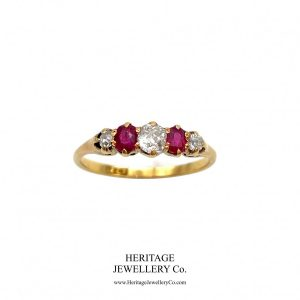 Antique Ruby and Diamond Half-Hoop Ring Diamond Antique Jewellery
