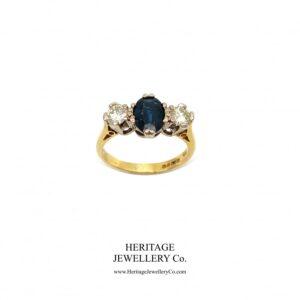 Vintage Sapphire and Diamond Trilogy Ring Diamond Antique Jewellery