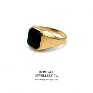 Vintage Heavy Gold & Onyx Signet Ring Antique Jewellery