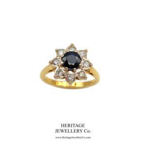Vintage Sapphire and Diamond Cluster Ring Diamond Antique Jewellery