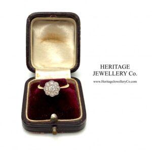 Diamond Daisy Cluster Ring (c. 0.6ct TCW) Diamond Antique Jewellery