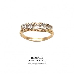 Edwardian Carved 5-Stone Diamond Ring (c.0.66 TCW) Antique Antique Jewellery
