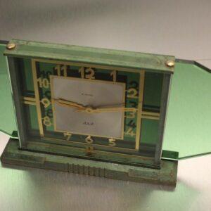 RARE GREEN GLASS 'JAZ' ORIGINAL 1930's 8 DAY FRENCH CLOCK GOOD CONDITION SERVICED Antique Clocks
