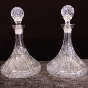 Pair Cut Glass Ships Decanters