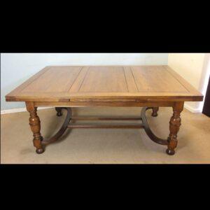 Large Antique Oak Extending Drawleaf Dining Table