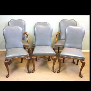 Set of Six Antique Queen Anne Style Walnut Dining Chairs
