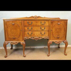Burr Walnut Queen Anne Style Shaped Sideboard