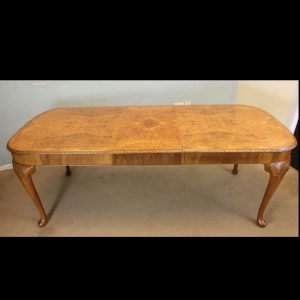 Burr Walnut Queen Anne Style Extending Dining Table.
