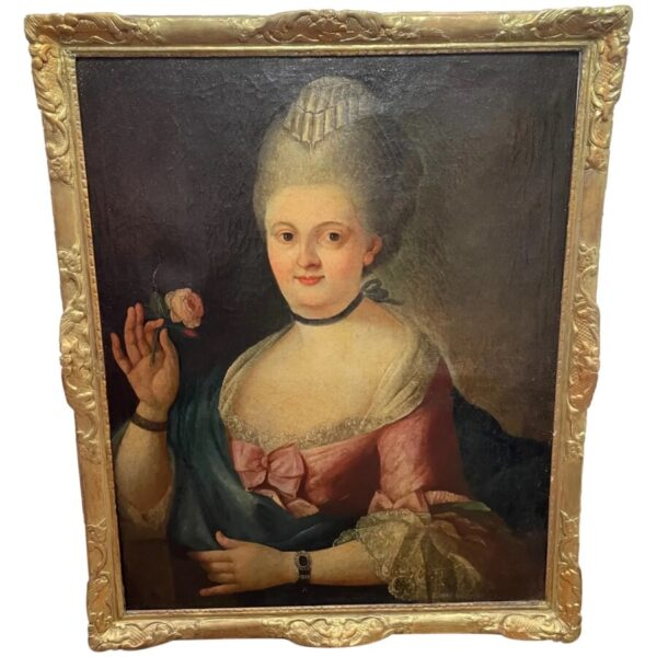 18th Century Oil Painting Portrait French Countess Lady In Pink Silk Dress Holding A Rose Anglo-French Antique Art 2