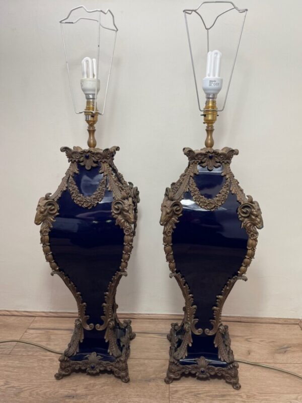 Pair French Large Rams Heavy Bronze Blue Ceramic Table Lamps a pair Antique Lighting 3