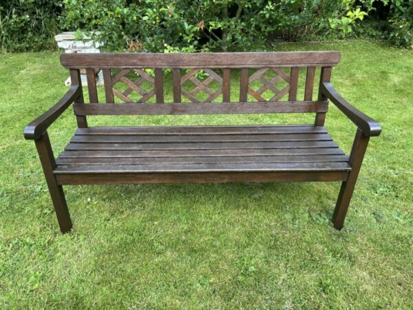 Large 3 Seater Vintage 20th Century Colonial Style Teak Wood Garden Bench Colonial style Vintage 3