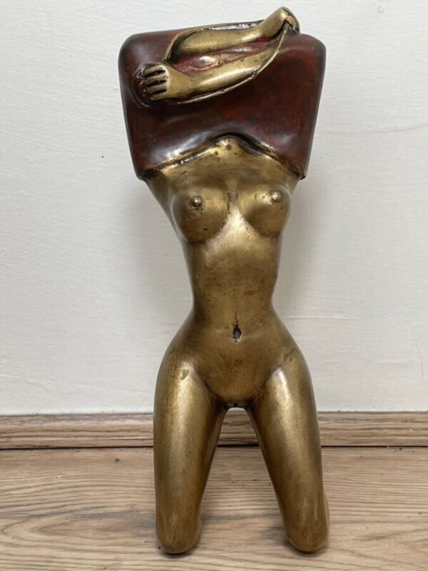 """Art Deco Circa 1930 French Cold Painted Gilt Bronze Posing """"Mystery Nude Lady"""" art deco Antique Metals 3"""