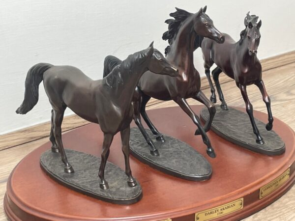 """Set 3 Small Solid Bronze Horse Racing """"The Origins Of Champions"""" By Gill Parker bronze Antique Art 3"""