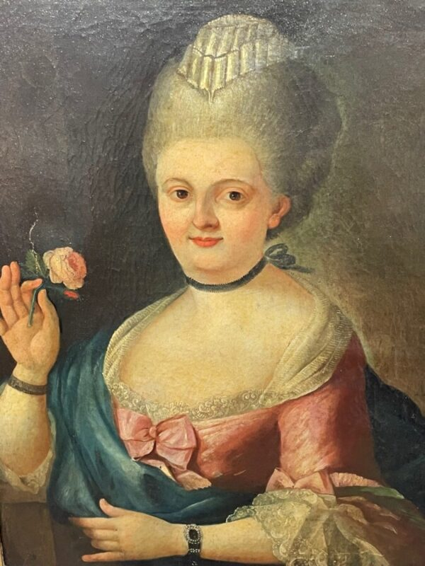 18th Century Oil Painting Portrait French Countess Lady In Pink Silk Dress Holding A Rose Anglo-French Antique Art 3