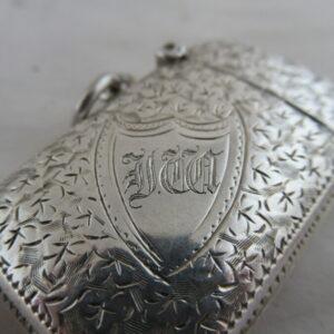 Solid Silver VICTORIAN VESTA CASE Hallmarked:- Birmingham 1894 Antique Silver
