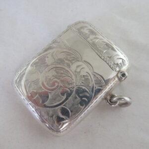 SUPERB Antique Solid Silver VESTA CASE Hallmarked:-Birmingham 1919 Vesta Case Antique Silver