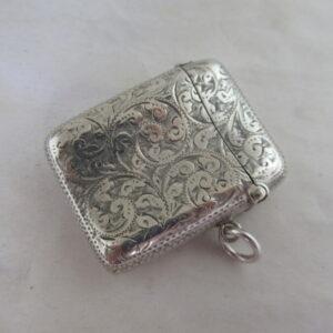 Victorian Antique Solid Silver VESTA CASE Hallmarked:- Birmingham 1894 Silver Vesta Case Antique Silver